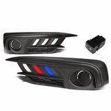 16-17 Honda Civic Pair of Bumper Driving Running LED DRL Fog Light Black Bezel / Frosted Lens (White Red Blue LED)