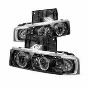 1995-2005 GMC Safari Angel Eye Halo Projector Headlights - Black