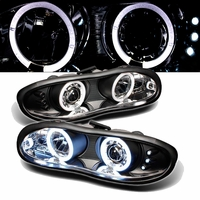 1998-2002 Chevy Camaro Angel Eye Halo & LED Projector Headlights - Black
