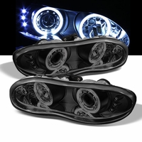 1998-2002 Chevy Camaro Angel Eye Halo & LED Projector Headlights - Black Smoked