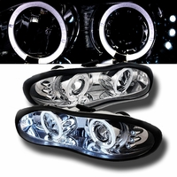 1998-2002 Chevy Camaro Angel Eye Halo & LED Projector Headlights - Chrome
