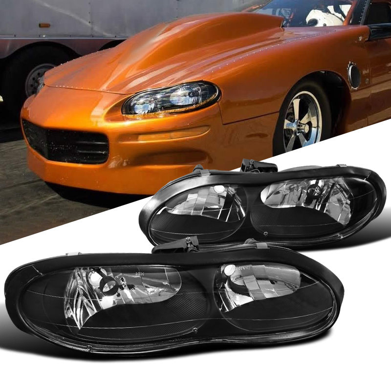 1998 2002 Chevy Camaro Z28 Replacement Crystal Headlights Black