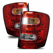 1999-2004 JEEP Grand Cherokee LED Tail Lights - Red / Clear