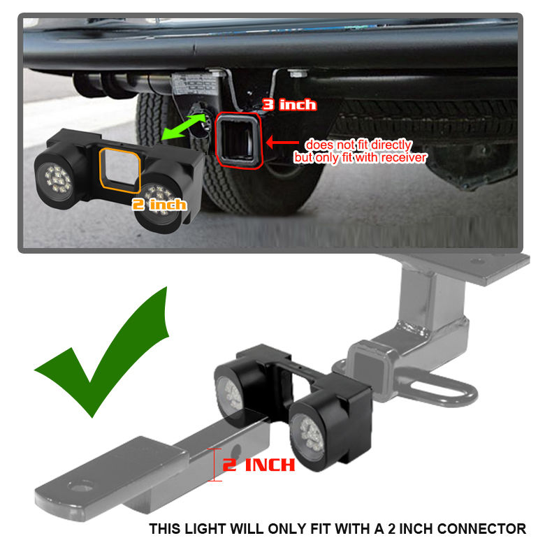 2 Inch Tow Hitch Super White LED Working Lights (Not Fit