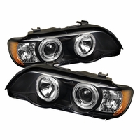 2000-2003 BMW X5 Angel Eye Halo & LED Projector Headlights - Black
