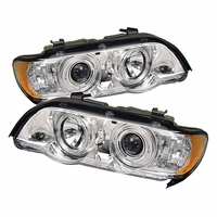 2000-2003 BMW X5 Angel Eye Halo & LED Projector Headlights - Chrome