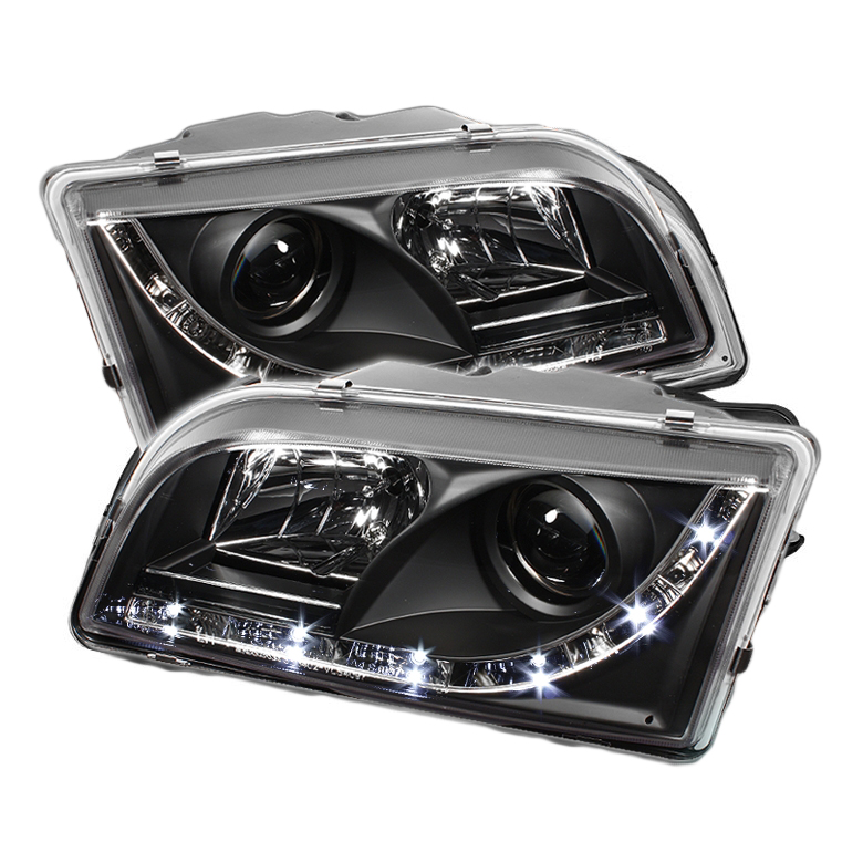 2000 2003 volvo s40 v40 led drl projector headlights black. Black Bedroom Furniture Sets. Home Design Ideas