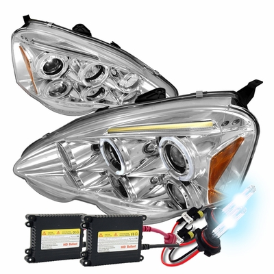 Acura Rsx Dual Halo Led Strip Projector Headlights Chrome Housing