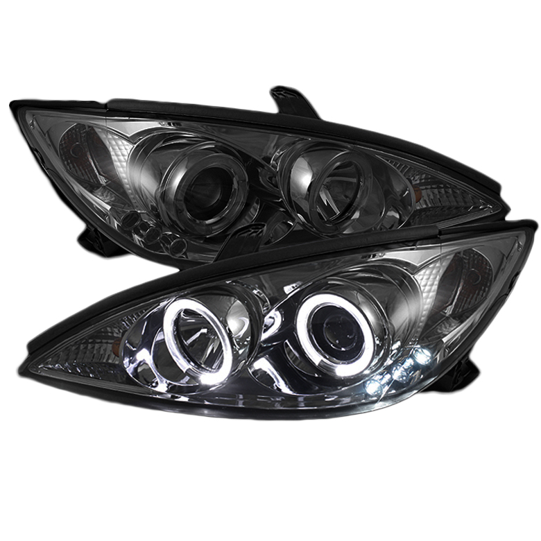 2002 2004 toyota camry angel eye halo led projector headlights smoked. Black Bedroom Furniture Sets. Home Design Ideas