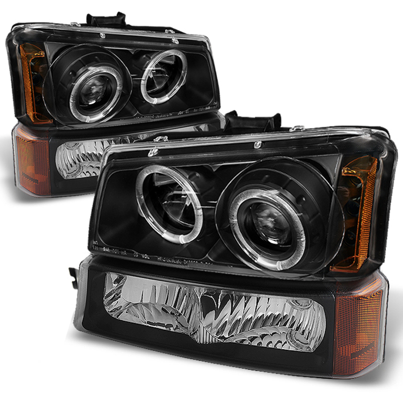 Chevy Silverado 0305 Halo Projector Headlights  Black