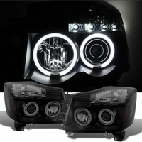 04-14 Nissan Titan / 04-07 Armada  Dual Halo & LED Projector Headlights - Black Smoked
