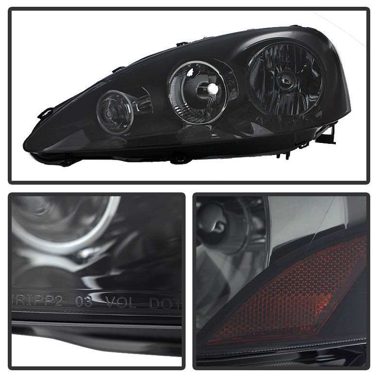 Acura RSX Crystal Replacement Headlights Black Smoked - 2006 acura rsx headlights
