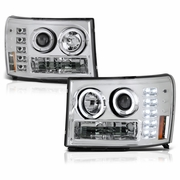 07-13 GMC Sierra 1500 / 08-14 2500HD 3500HD LED Angel Eye Projector Headlights - Chrome