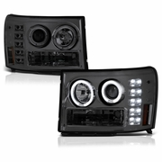 07-13 GMC Sierra 1500 / 08-14 2500HD 3500HD LED Angel Eye Projector Headlights - Smoked