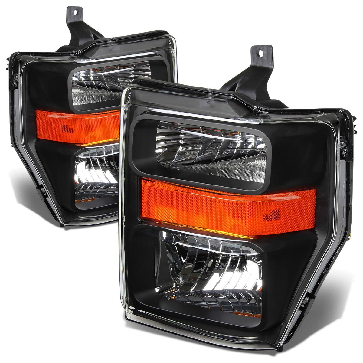 2008 2010 ford f250 f350 superduty crystal replacement headlights black