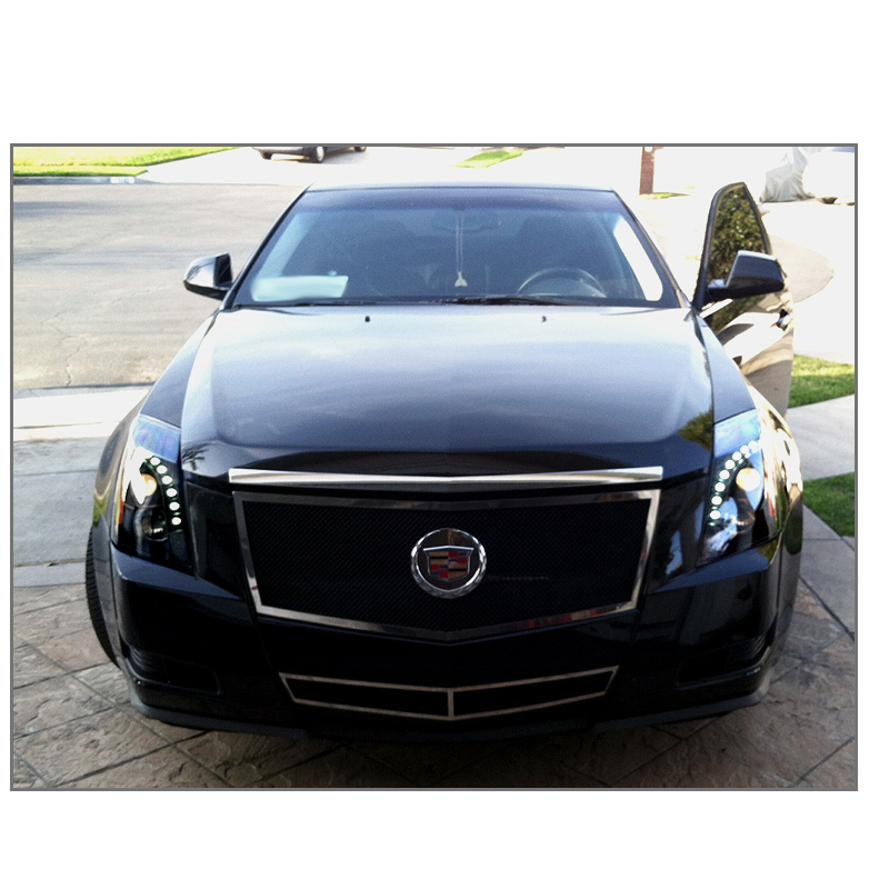 2014 Cadillac CTS Halogen Model LED DRL Projector Headlights  Black