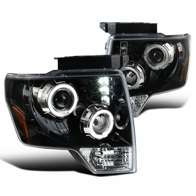 2009-2014 Ford F150 Angel Eye Halo & LED Projector Headlights - Gloss Black / Clear Lens