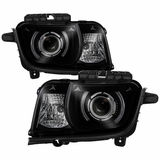 2010-2013 Chevy Camaro CCFL LED Halo Projector Headlights - Black Smoked
