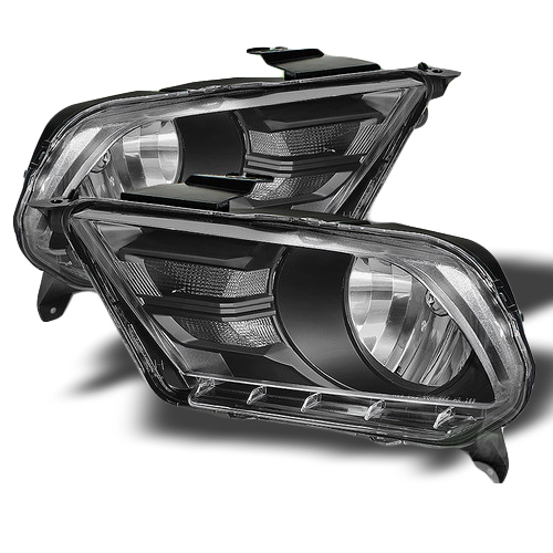 2010 2013 ford mustang euro style crystal headlights black. Black Bedroom Furniture Sets. Home Design Ideas