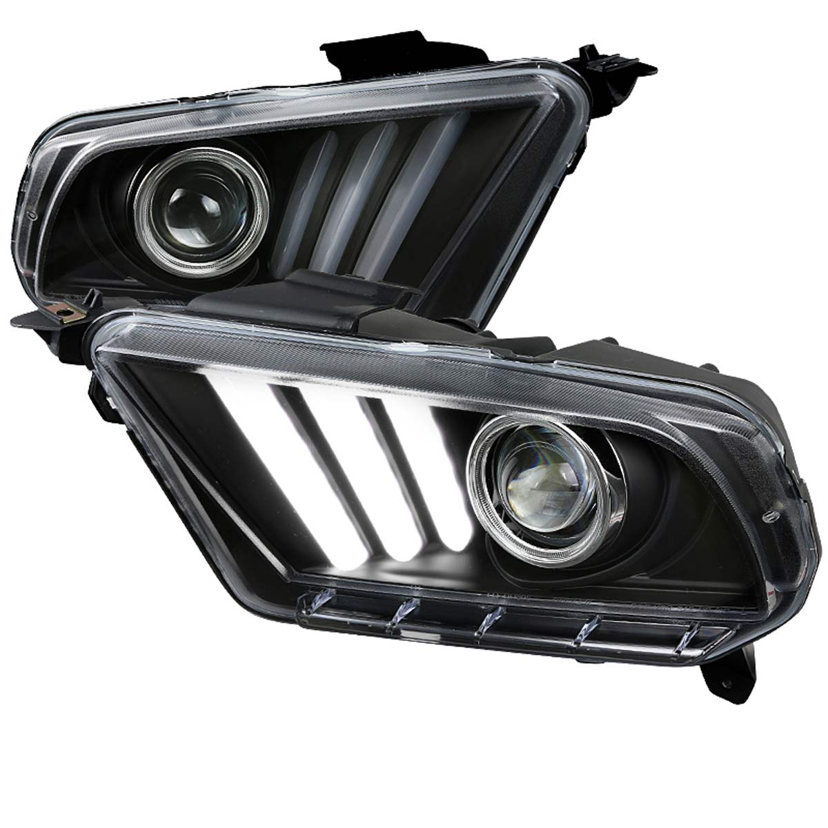 2010 2014 ford mustang sequential led drl bar projector headlights black 64 2010 2014 ford mustang sequential led drl bar projector headlights