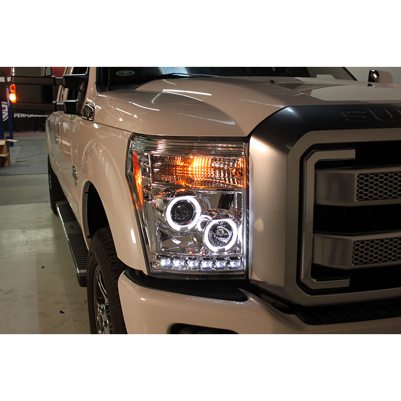 2016 F350 Super Duty >> 2011-2016 Ford F250 F350 Superduty LED Halo Projector Headlights - Smoked