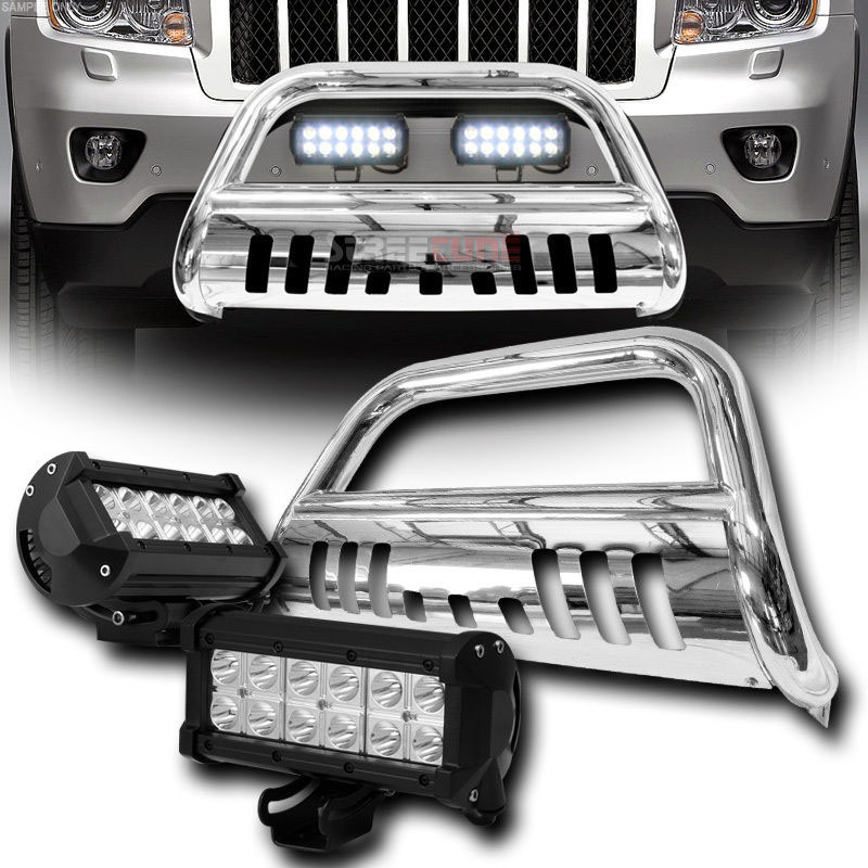 2011 2015 Jeep Grand Cherokee Front Bull Bar Guard 36w Led Light Bar Polished