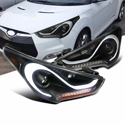 2012-2015 Hyundai Veloster LED DRL / Signal Projector Headlights - Black