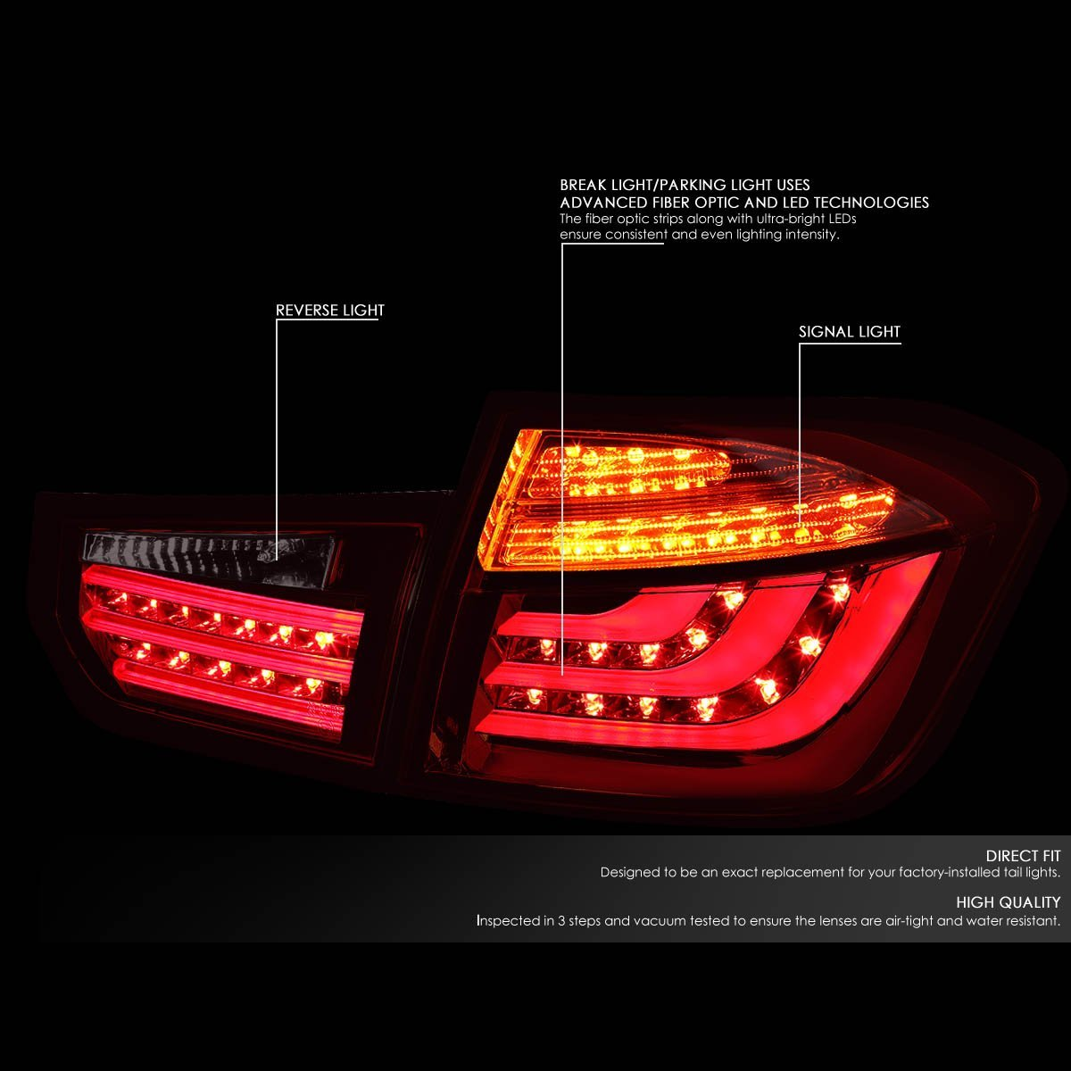 2013 15 bmw 3 series f30 f31 4dr pair of red smoked lens 3d led bar brake signal tail lights