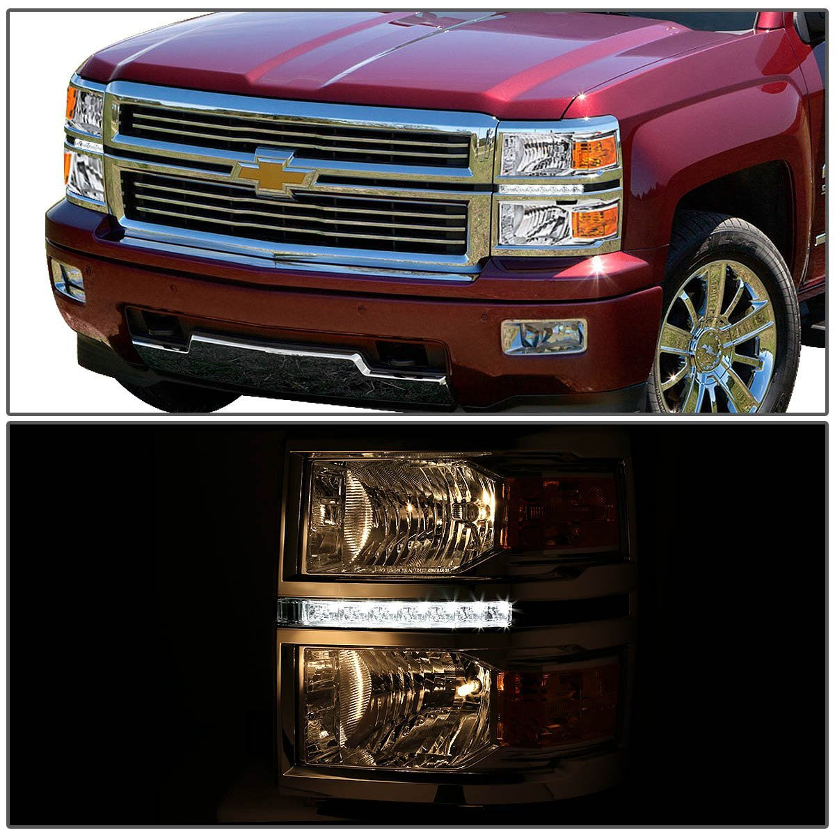 2014 15 chevy silverado 1500 led strip replacement headlights chrome. Black Bedroom Furniture Sets. Home Design Ideas
