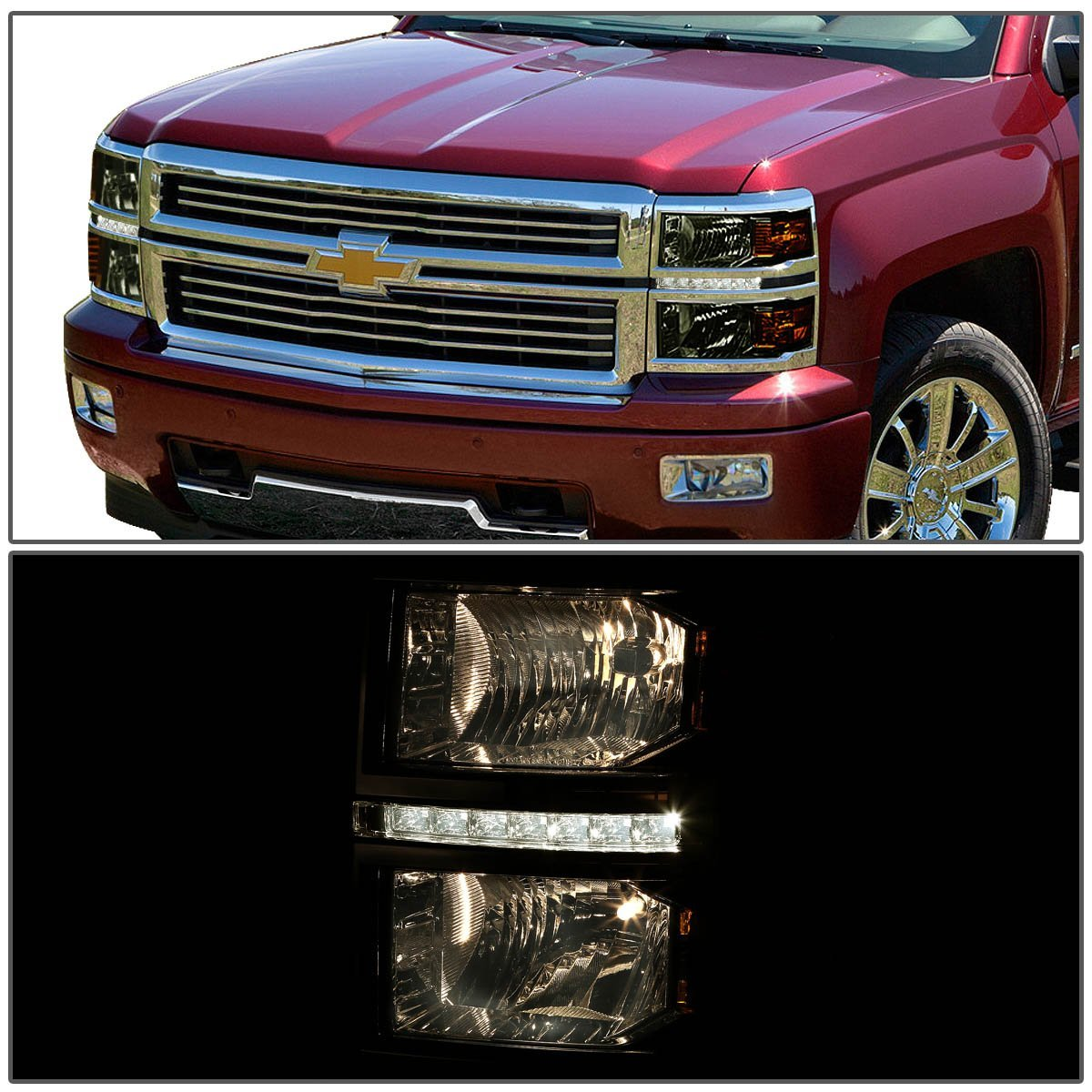 2014 15 chevy silverado 1500 led strip replacement headlights smoked. Black Bedroom Furniture Sets. Home Design Ideas