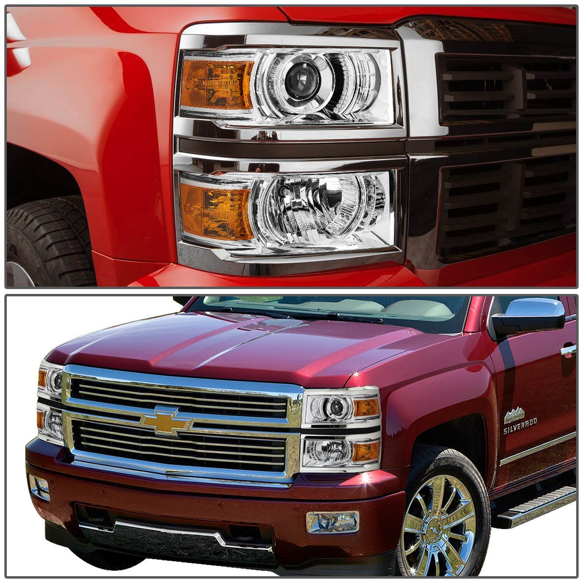 2014 2016 chevy silverado 1500 projector headlights chrome. Black Bedroom Furniture Sets. Home Design Ideas