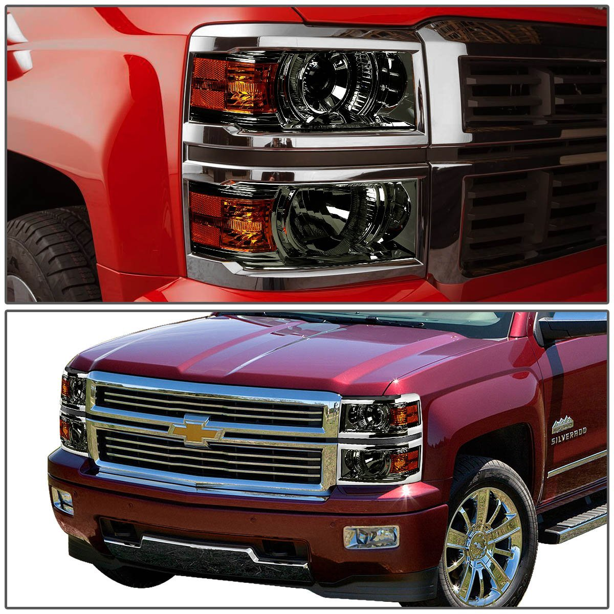 2014 2016 chevy silverado 1500 projector headlights smoked. Black Bedroom Furniture Sets. Home Design Ideas
