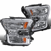 2015-17 Ford F150 Pickup Crystal Replace Headlights - Chrome