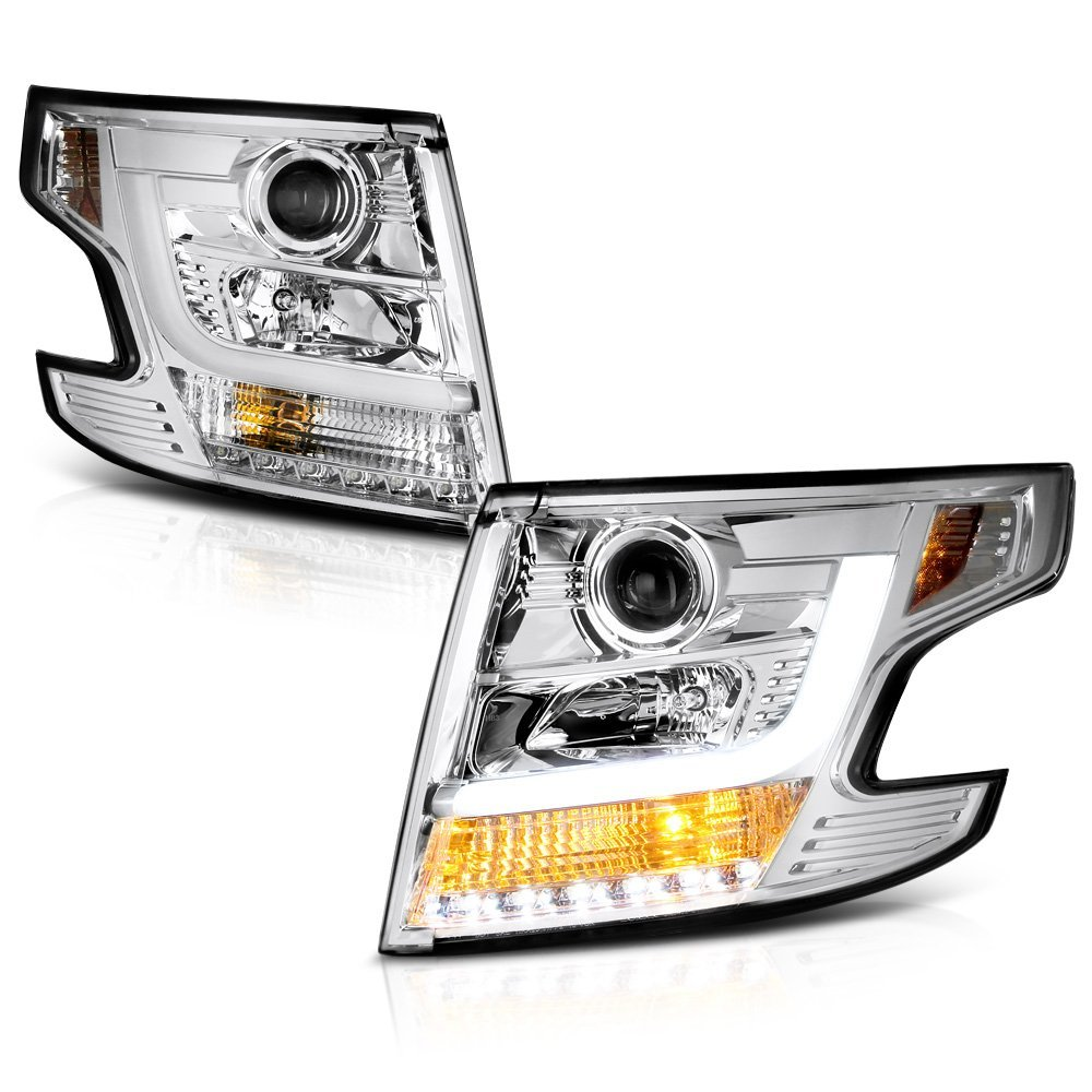 2015 17 Chevy Tahoe Suburban Halogen Model Led Drl Projector Chrome Roof Rack Headlights