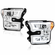 2015-2017 Ford F150 LED Light Tube DRL Projector Headlights - Chrome