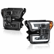2015-2017 Ford F150 LED Light Tube DRL Projector Headlights - Smoked