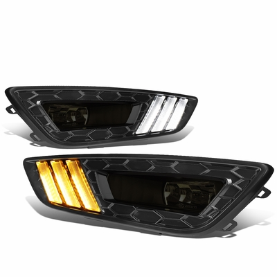 2015-2017 Ford Focus LED DRL Fog Lights + Build-in Turn Signal (Black Bezel Smoked Lens)