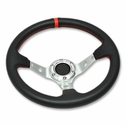 "320MM 3"" DEEP DISH 6 HOLE BLACK/SILVER STEEL STEERING WHEEL RED STITCHING + HORN"