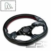 320MM 6-HOLE STEERING WHEEL BLACK PVC LEATHER RED STITCH CARBON LOOK TRIM + HORN