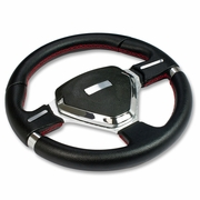 320MM 6-HOLE STEERING WHEEL FULL BLACK PVC LEATHER RED STITCH CHROME TRIM + HORN