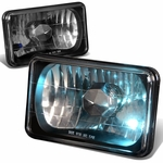 4x6 DIAMOND CUT SQUARE BLACK HOUSING HEADLIGHTS LAMP + H4 BULBS