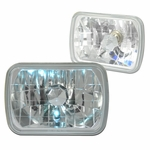7X6 Inch Diamond Cut Clear Glass Lens Headlight Lamps Set of 2 - Chrome