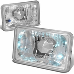 4x6 H4666 DIAMOND CUT SQUARE CHROME HEADLAMPS + H4 BULBS