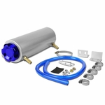 "7.25"" x 2.5"" Rounded Aluminum Oil Catch Reservoir Breather Tank + Cap (Blue)"