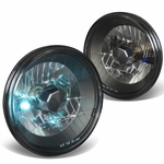 "7"" 7x7 DIAMOND CUT ROUND BLACK HOUSING GLASS HEADLAMPS + H4 BULBS"