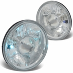 7X7 Inch H6024 Round Glass Lnes Projector Headlight Lamps Set of 2 - Chrome Housing
