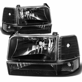 92-96 Ford F150-F350 Pickup / Bronco Crystal Headlights Set - Black Clear