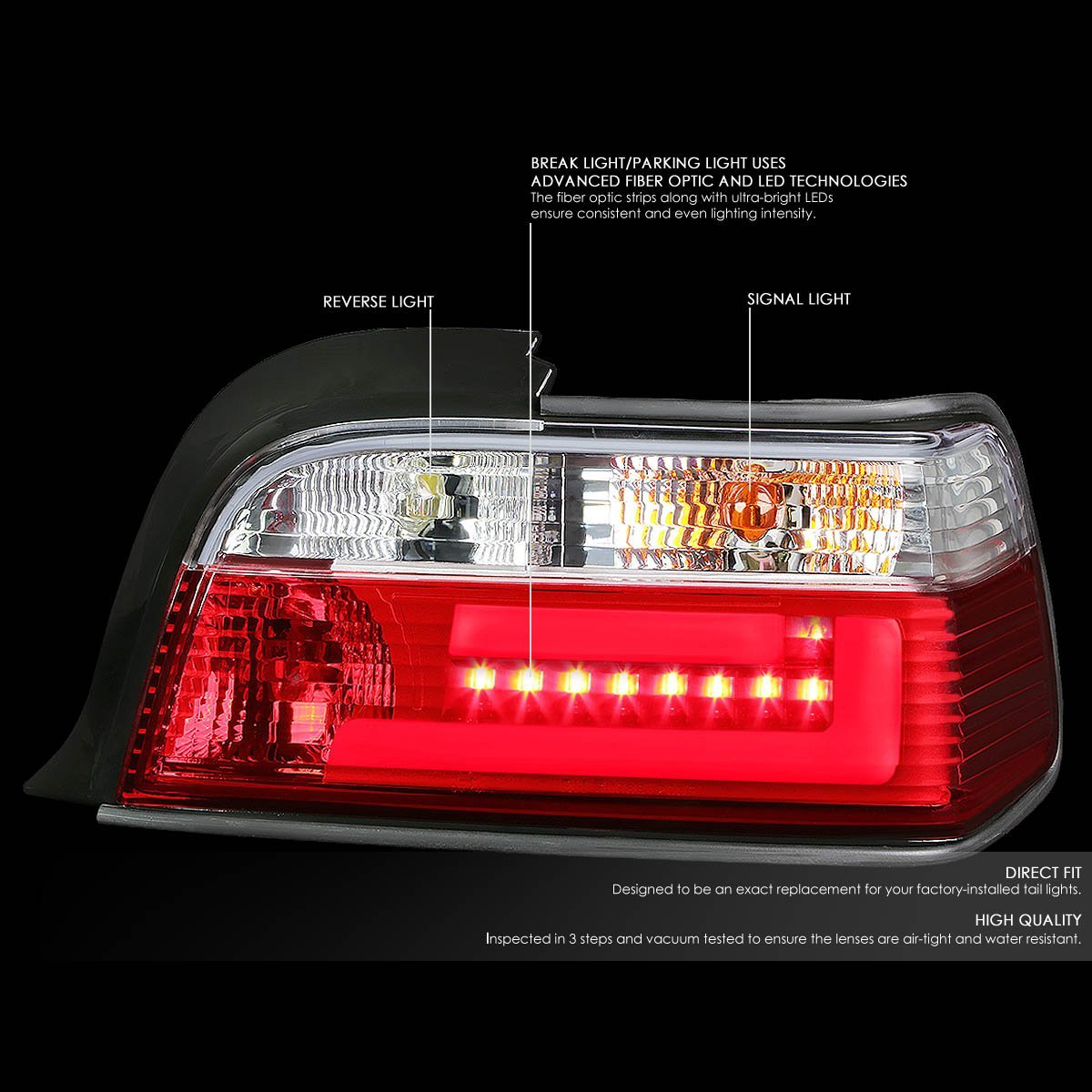 92 99 bmw e36 3 series 2 door pair of clear red lens 3d led bar brake signal tail light