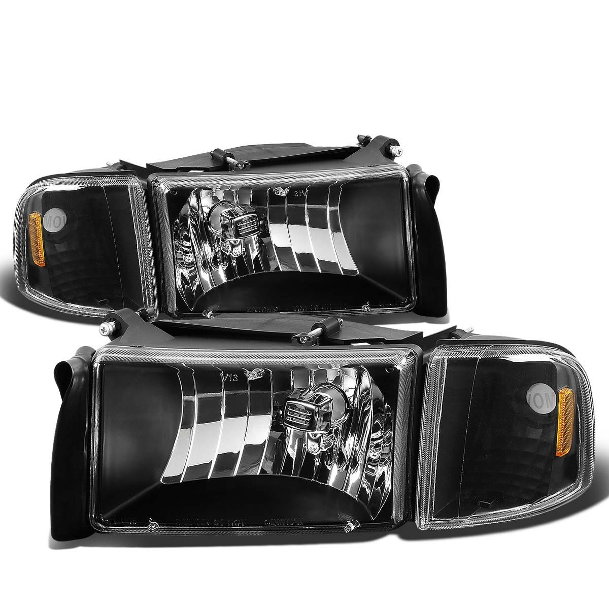 94 01 dodge ram 1500 2500 3500 oem style crystal headlights black. Black Bedroom Furniture Sets. Home Design Ideas