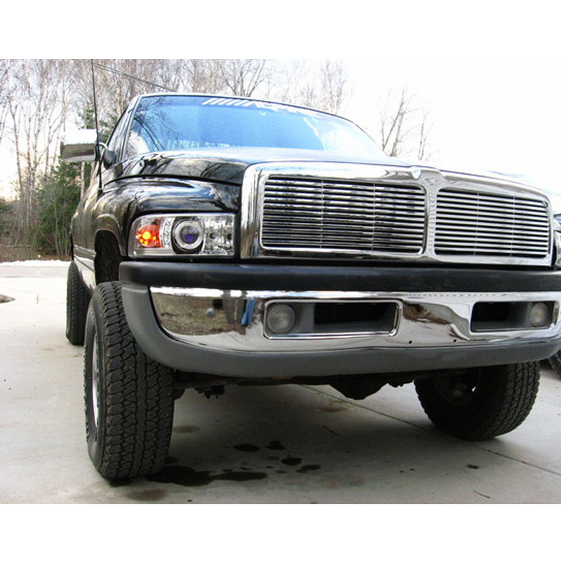94 01 dodge ram pickup 1500 2500 3500 angel eye halo led projector headlights smoked. Black Bedroom Furniture Sets. Home Design Ideas